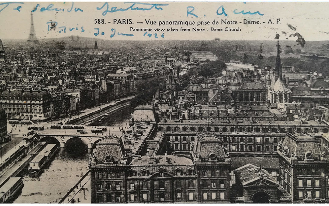 Postal escrita en Paris por Ramón Acín en 1926